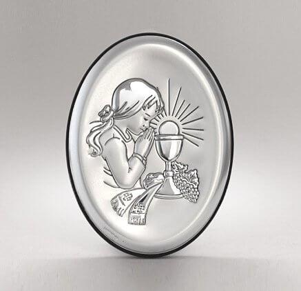 Pamiątka I Komunii dla dziewczynki - obrazek srebrny - Beltrami