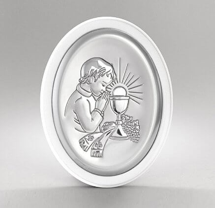 Obrazek srebrny na I Komunię dla chłopca