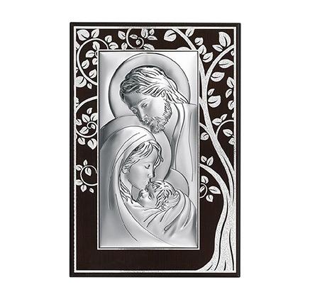 Święta Rodzina obraz srebrny na zdobionym drewnie