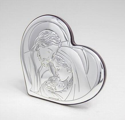 Srebrny obraz religijny na ślub i rocznicę ślubu Święta Rodzina