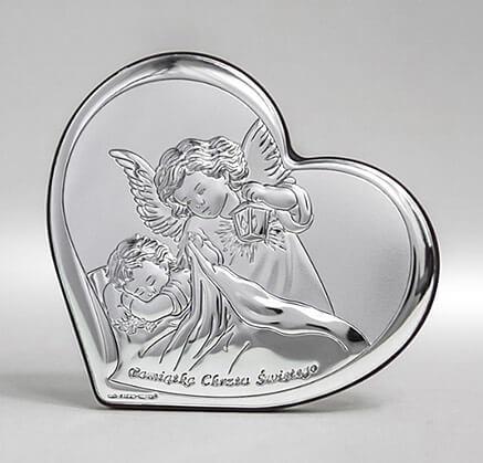 Srebrny święty obrazek z aniołkiem na Chrzest - Beltrami