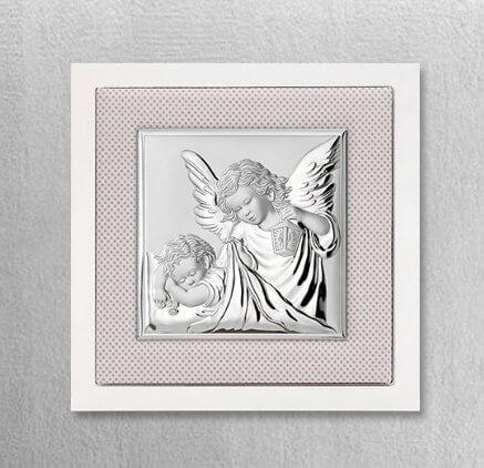 Srebrny obrazek z aniołkiem na Chrzest - Valenti