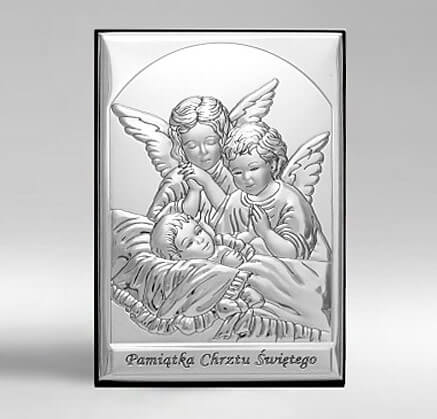 Obrazek srebrny a Chrzest - Pamiątka Chrztu Świętego - Valenti