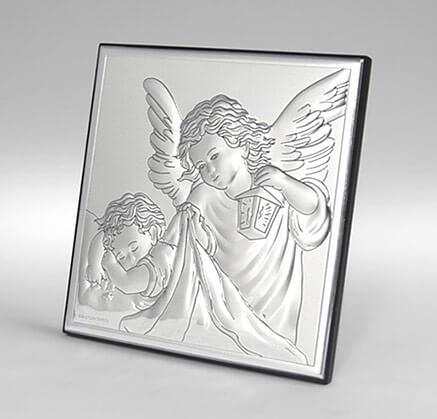 Obrazek srebrny - Pamiątka Chrztu Świętego - Aniołki nad dzieckiem - Valenti