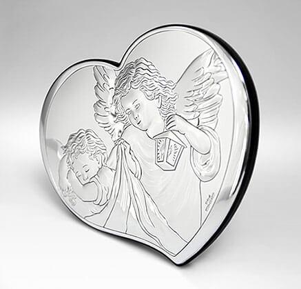 Srebrny święty obrazek z aniołkiem na Chrzest - Valenti