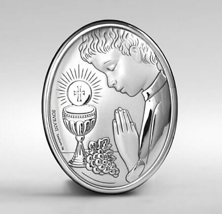 Pamiątka I Komunii Świętej - obrazek święty ze srebra dla chłopca