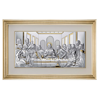 Ostatnia Wieczerza obraz srebrny w ramie za szkłem
