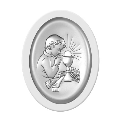Pamiątka komunijna Obrazek srebrny dla chłopca