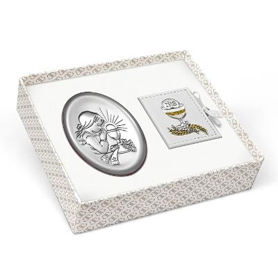 Obrazek srebrny + różaniec Zestaw komunijny