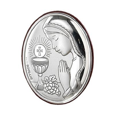 Pamiątka komunijna dla dziewczynki obrazek srebrny