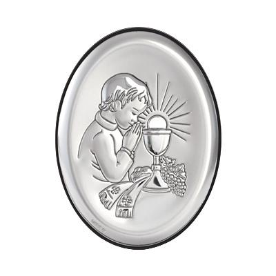 Pamiątka I Komunii obrazek srebrny