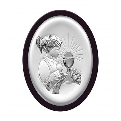 Pamiątka komunijna Obrazek srebrny dla dziewczynki