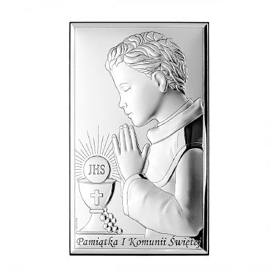 Pamiątka komunijna dla chłopca obrazek srebrny