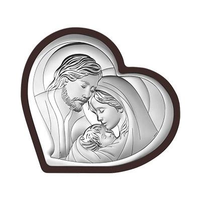 Święta Rodzina w sercu Obrazek srebrny