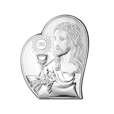 Prezent na Komunię dla dziecka obrazek srebrny