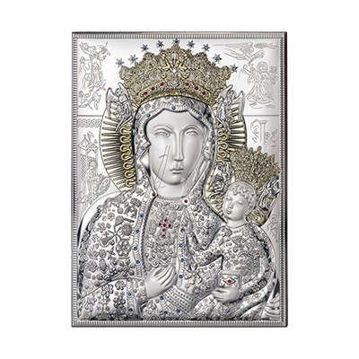 Matka Boska Częstochowska srebrna ikona