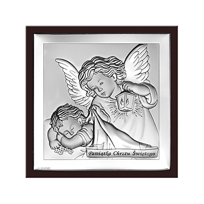 Aniołek z latarenką Obrazek srebrny z grawerem