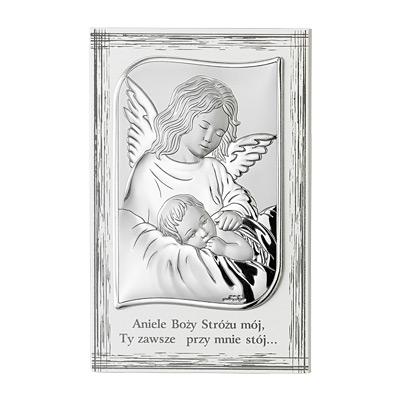 Aniołek nad dzieckiem Obrazek srebrny