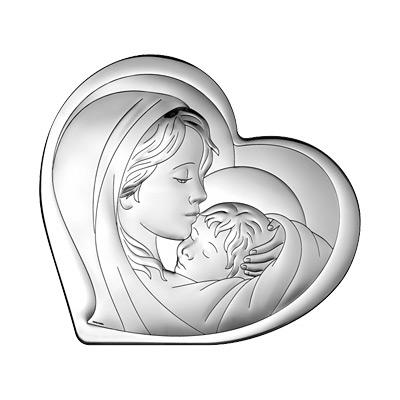 Matka Boska z Dzieciątkiem Obrazek srebrny