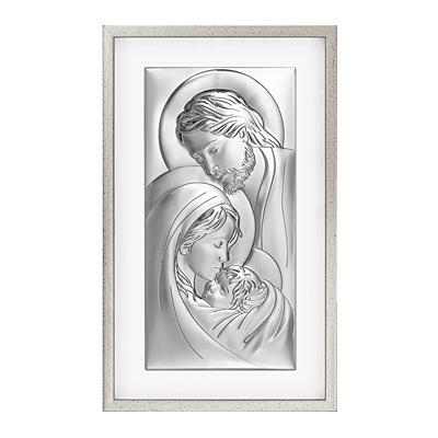 Święta Rodzina obraz srebrny w ramie za szkłem