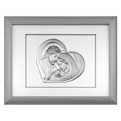 Święta Rodzina obrazek srebrny w ramie