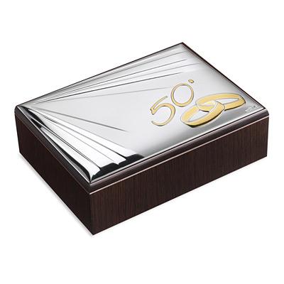 Szkatułka na 50 rocznicę ze srebrnym zdobieniem