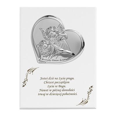 Aniołek nad dzieckiem Obrazek srebrny na panelu