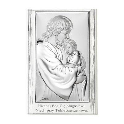 Jezus tulący dziecko Obrazek srebrny