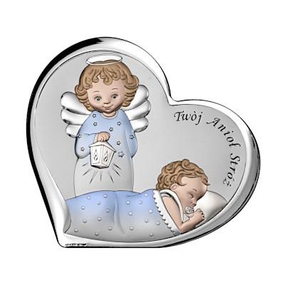 Pamiątka Chrztu Świętego Obrazek z aniołkiem dla chłopca