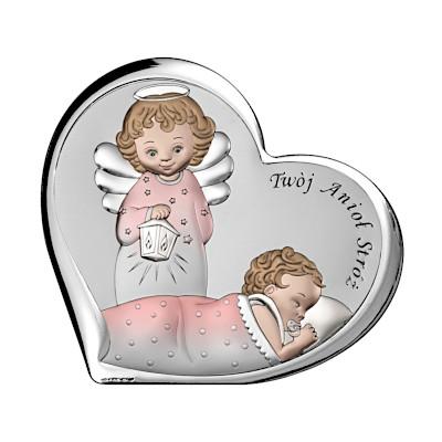 Pamiątka Chrztu Świętego Obrazek z aniołkiem dla dziewczynki