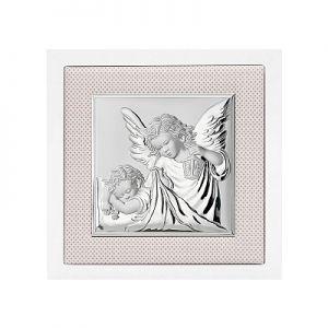Aniołki nad dzieckiem obrazek srebrny