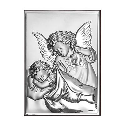 Aniołek nad dzieckiem Obrazek na Chrzest, Komunię
