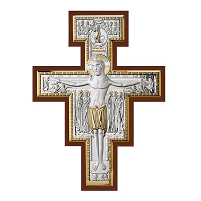 Krzyż św. Damiana ze srebrnymi elementami