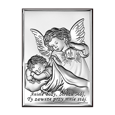 Aniołki nad dzieckiem Obrazek srebrny na Chrzest